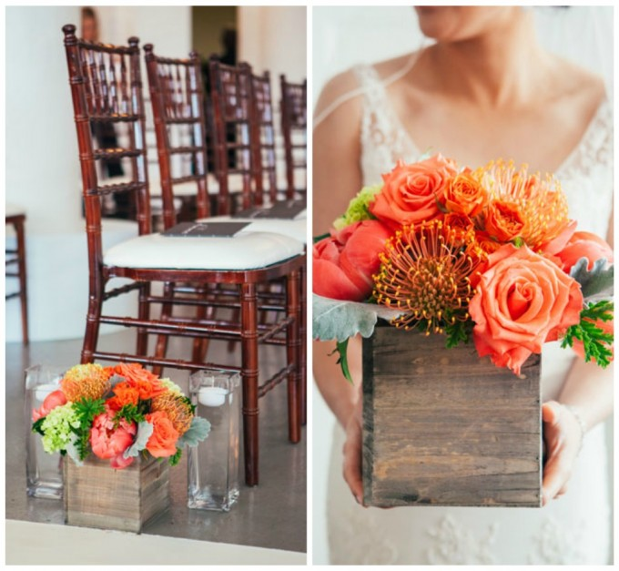 24. Room 1520 Wedding. Sweetchic Events. Studio Finch. Vale of Enna. Wood Box Aisle Decor. Peonies. Hydrangea, Roses, Protea, Dusty Miller. Modern Vintage. Orange
