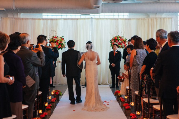 29. Room 1520 Wedding. Sweetchic Events. Studio Finch. Bride Walking Down Aisle. Modern Vintage Ceremony