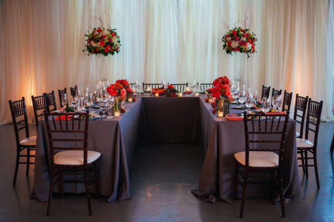 38. Room 1520 Wedding. Sweetchic Events. Studio Finch. Vale of Enna. U Shaped Head Table. Gray Linens. Coral Napkins. Modern Vintage.
