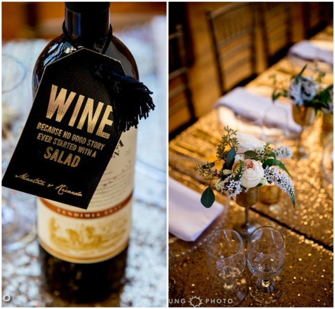 22. Art Deco Wedding. Kitchen Chicago. Victoria Sprung Photography. Sweetchic Events. Wine Bottle Tags. Sequin Table Clothes. Goblet Centerpieces. Roses.