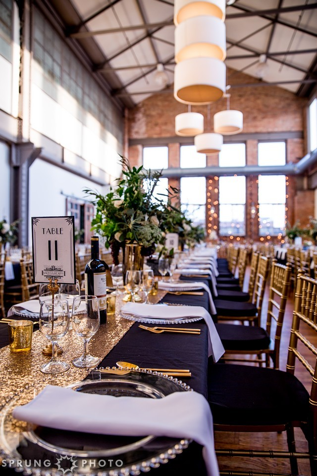 23. Art Deco Wedding. Kitchen Chicago. Victoria Sprung Photography. Sweetchic Events. Asrai Garden. Gold Urn Centerpieces. Hollywood Glam. Sequins. Gold.