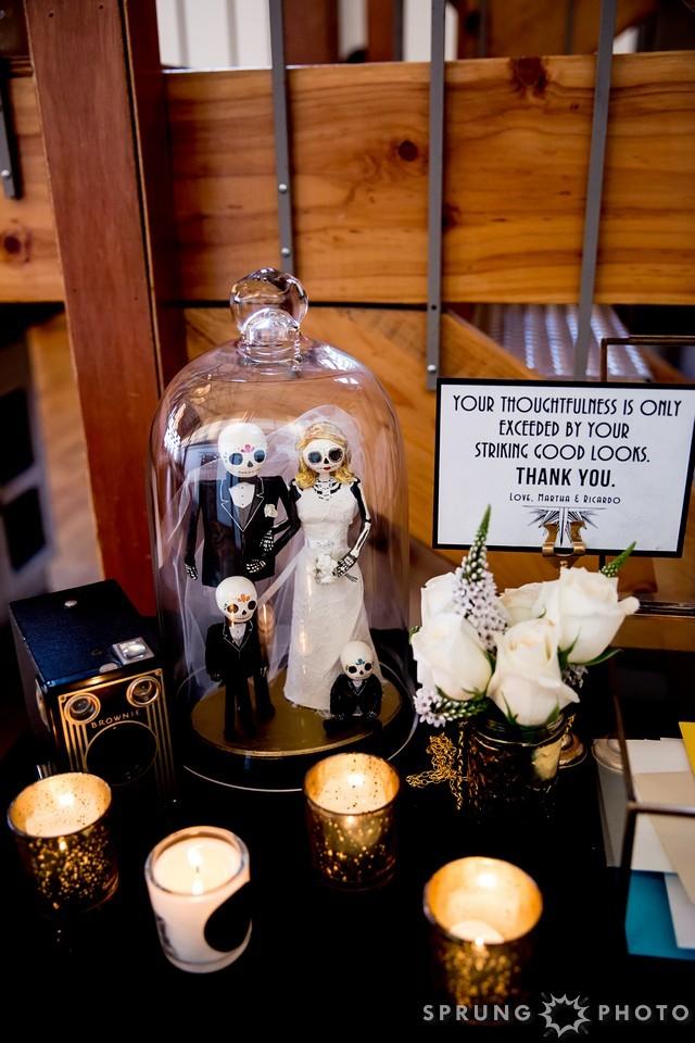 24. Art Deco Wedding. Kitchen Chicago. Victoria Sprung Photography. Sweetchic Events. Dia De Los Muertos. Statue. Cloche.