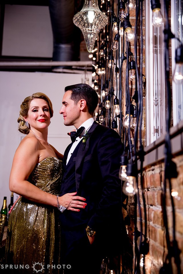 34. Art Deco Wedding. Kitchen Chicago. Victoria Sprung Photography. Sweetchic Events. Cafe Lights. Hollywood Glam. Sequin Dress.