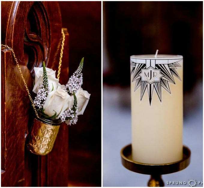 5. Art Deco Wedding. Kitchen Chicago. Victoria Sprung Photography. Sweetchic Events. DIY Aisle Decor. Gold Mason Jars. Custom Unity Candle. White Roses.