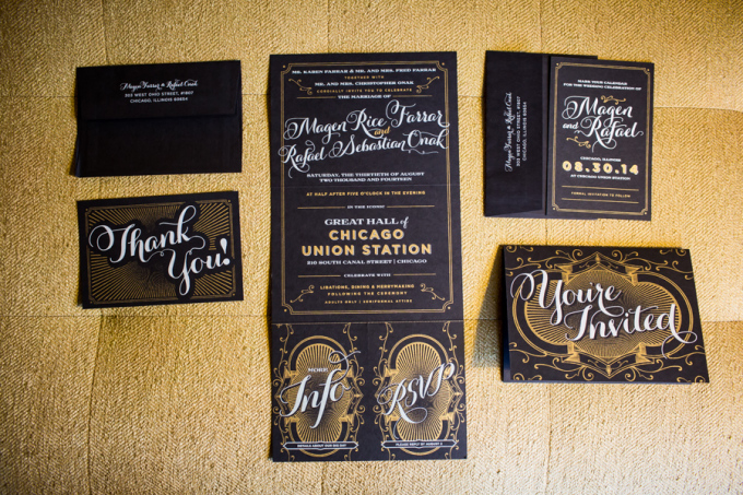 1. Union Station Wedding. Steve Koo Photography. Sweetchic Events. Black and Gold Wedding Stationary. Old Hollywood. Great Gatsby. Glamour.