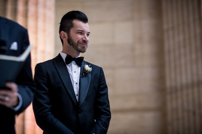 24. Union Station Wedding. Steve Koo Photography. Sweetchic Events. Groom waiting at altar