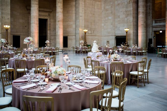 36. Union Station Wedding. Steve Koo Photography. Sweetchic Events. Flower Firm. Blush Gold Ivory Wedding. Glamourous. Blush Uplighting.