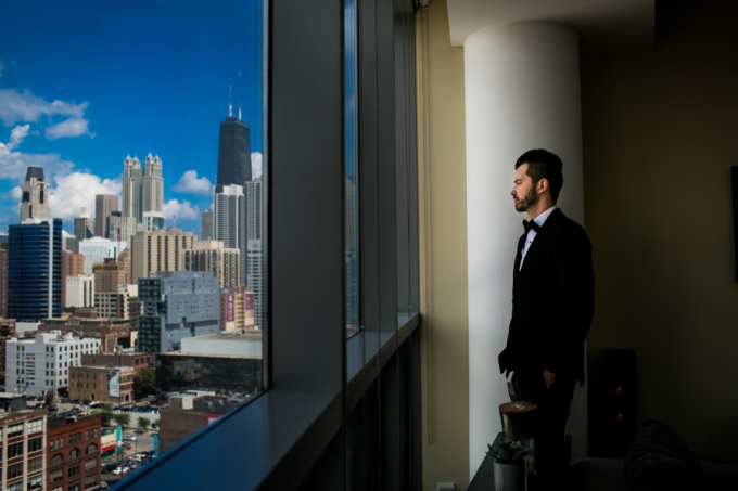 6. Union Station Wedding. Steve Koo Photography. Sweetchic Events. Groom. Chicago Skyline