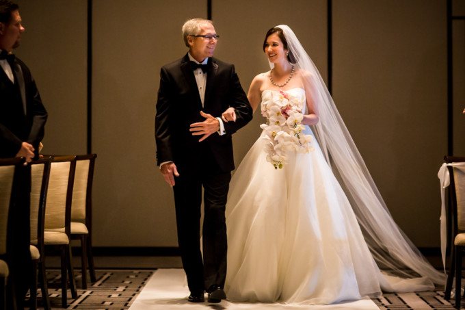 17. Langham Chicago Wedding. Steve Koo Photography. Sweetchic Events. Bride. Aisle. Ceremony.Father