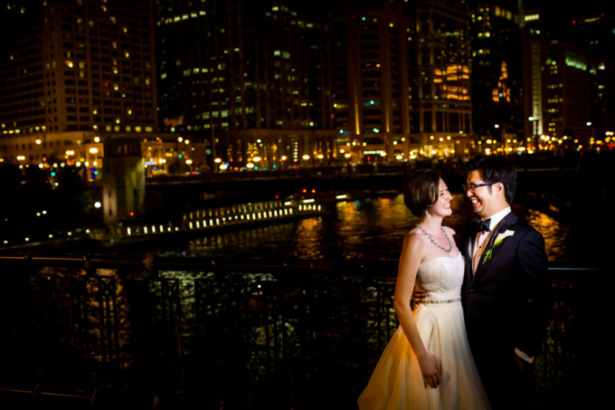33. Langham Chicago Wedding. Steve Koo Photography. Sweetchic Events. Urban Wedding. Chicago Skyline. Night.