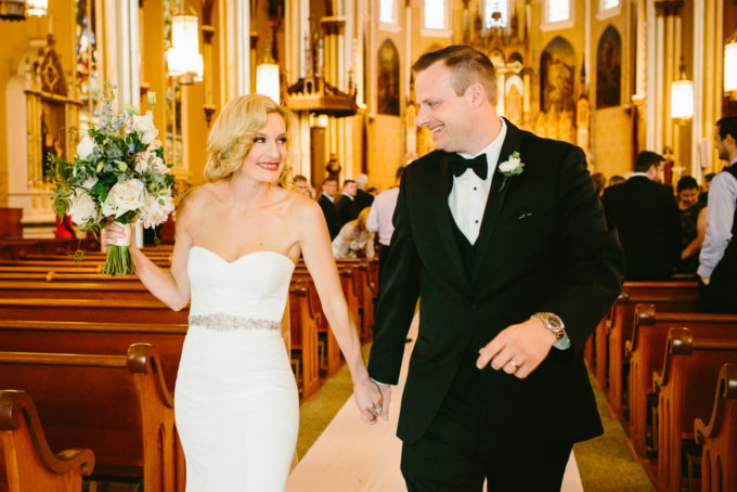 14-blackstone-chicago-wedding-pen-carlson-sweetchic-events-vale-of-enna-bride-and-groom-church-ceremony-recessional-classic-vintage-bouquet-peony