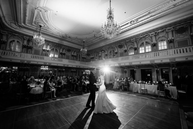42-blackstone-chicago-wedding-pen-carlson-sweetchic-events-first-dance-bride-and-groom-dancefloor-hotel-ballroom-black-and-white