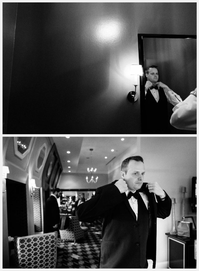 5-blackstone-chicago-wedding-pen-carlson-sweetchic-events-groom-getting-ready-tux-black-and-white