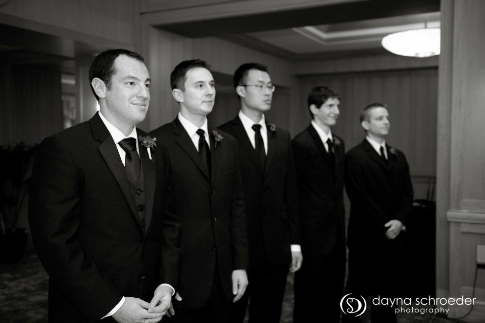 21 Westin River North chicago wedding sweetchic events dayna schroeder groomsmen at alter