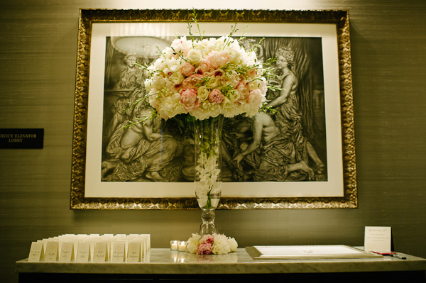 32. SD.Waldorf Astoria. Pen Carlson Photography. Sweetchic Events. Vale of Enna. Escort Card,Guest Book Table. Blush Pink Peony, White Garden Roses, White Orchid.