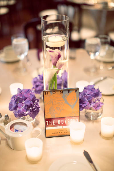 38. Alicia & Kris. Newberry Library Wedding. iLuvPhoto. Sweetchic Events. Fluer. Submerged Calla Lily Centerpiece and Hydrangea Collection.