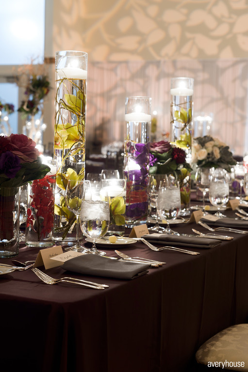 38. The Ivy Room. Avery House. Sweetchic Events. Head Table. Glass Cylinders with Submerged Orchid and Curly Willow.
