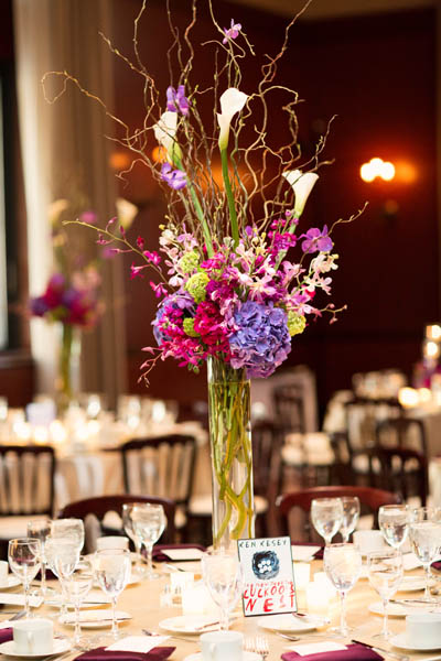 41. Alicia & Kris. Newberry Library Wedding. iLuvPhoto. Sweetchic Events. Fluer.  Willow Branch, Calla Lilly, Hydrangea Centerpiece.