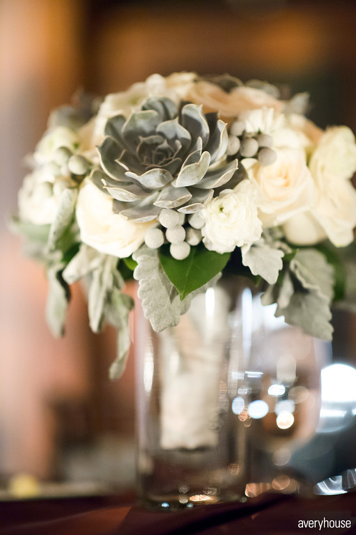 41. The Ivy Room. Avery House. Sweetchic Events. Flower Firm. Ivory Rose, Succulent, Dusty Miller, Silver Berries Bridal Bouquet.