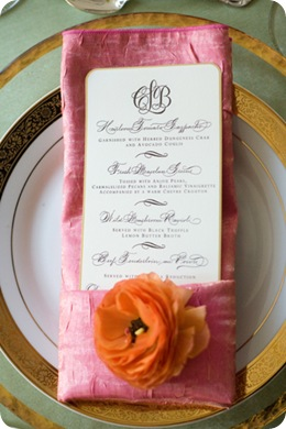 A Bryan Photo place setting menu closeup
