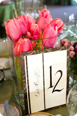 A Bryan Photo tulips table number closeup