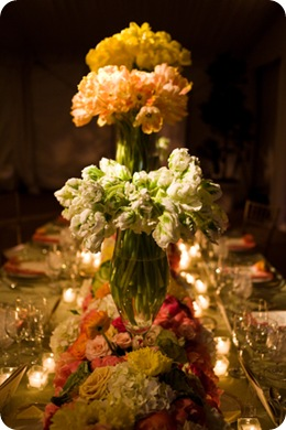 Amazing head table floral centerpieces vibrant2