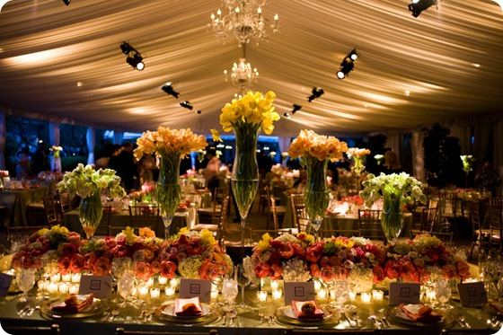 Amazing head table floral centerpieces vibrant