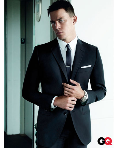 Channing Tatum Tie Clip and Suit Via GQ
