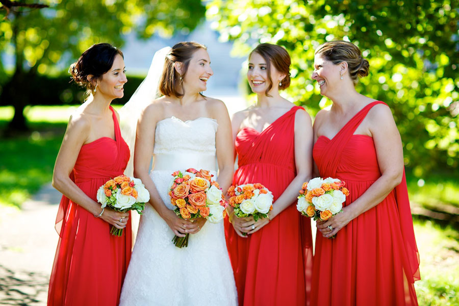 Chicago History Museum. Steve Koo Photography. Sweetchic Events. Bride and Bridesmaids. Orange Dresses