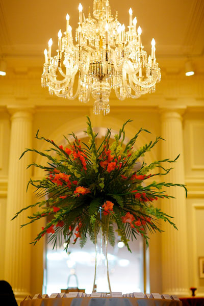 Chicago History Museum. Steve Koo Photography. Sweetchic Events. EP2. Escort Card Table. Orange and Green Gladiolas.