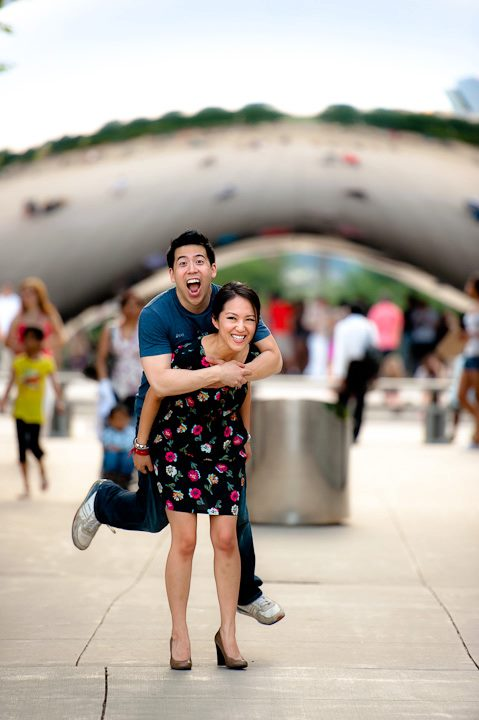 ChrisDonna Millenium Park Cloudgate Bean engagement shoot