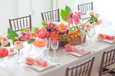 Coral charm peonies tablescape SMP