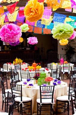 Fiesta rehearsal dinner tablescape lanterns vibrant