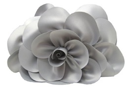 Grey Silver satin rose clutch Sondra Roberts New York