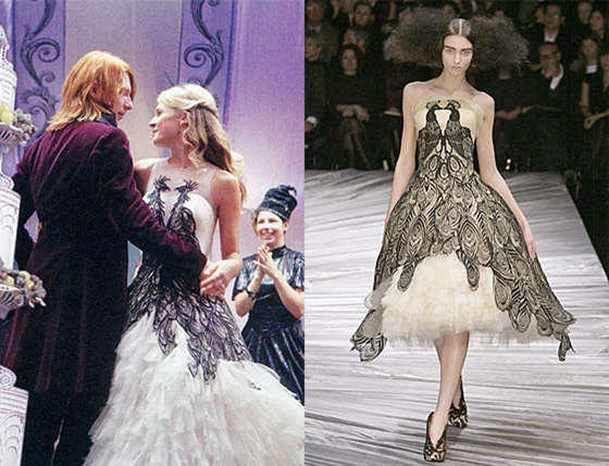 HP7 Bill Fleur wedding dress Alexander McQueen lookalike Source