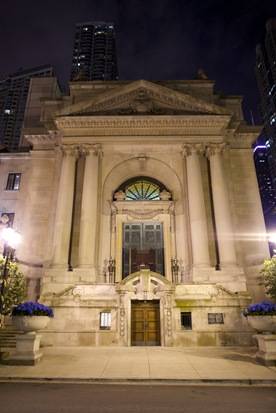 Murphy Auditorium Chicago exterior nighttime shot