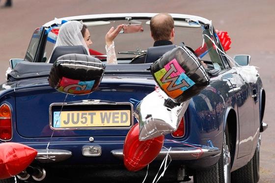 Newlywed Royals Leave Wedding Reception gettaway car aston martin Source