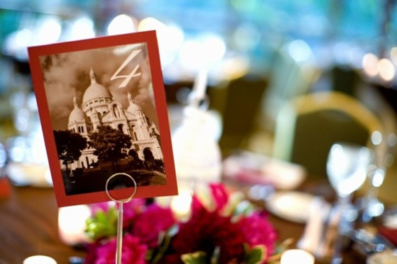 Paris theme table number sweetchic events via  Dennis Lee Photography