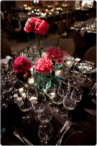 Pink fuchsia chocolate tablescape peonies roses daisies Artstar Photo