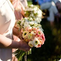 Pink white ranunculous bridesmaids bouquet  Source