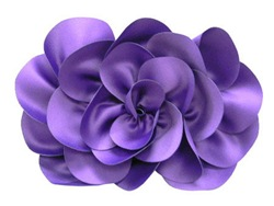 Purple satin rose clutch Sondra Roberts New York