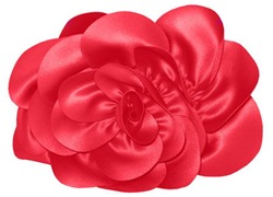 Red satin rose clutch Sondra Roberts New York