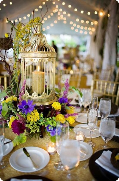 Sara France Photo tablescape gold birdcage purple yellow lovebird theme 2