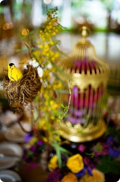 Sara France Photo tablescape gold birdcage purple yellow lovebird theme