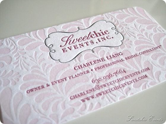 Sweetchic letterpress business card