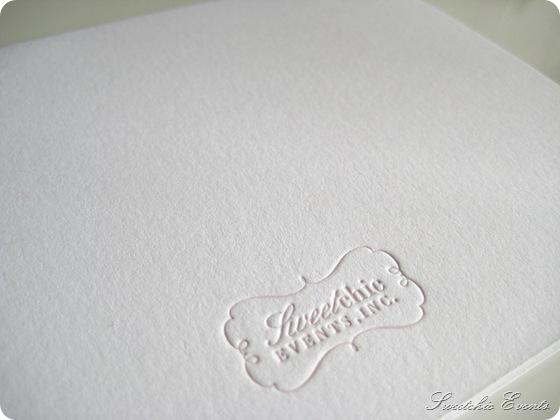 Sweetchic letterpress notecard back logo
