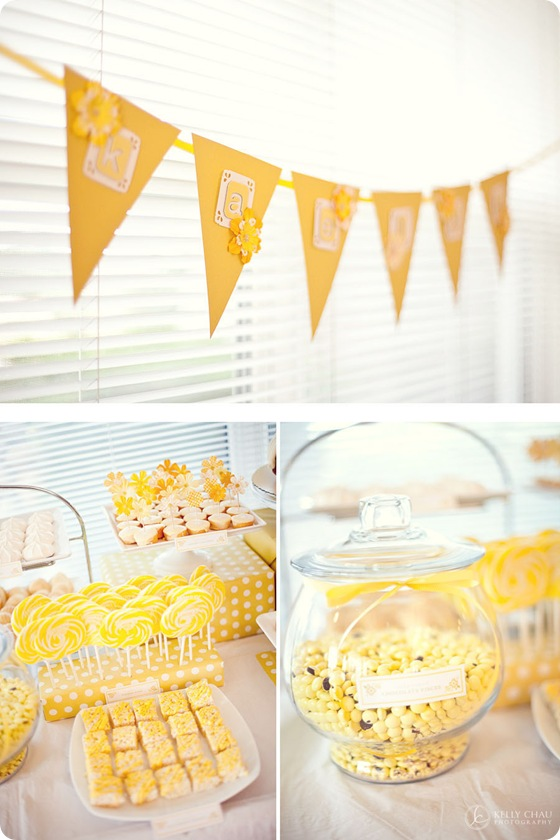candy buffet yellow lollipops rice krispy treats cupcakes meringue