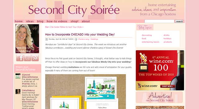 Guest Posting on Second City Soirée! | Sweetchic Events, Inc