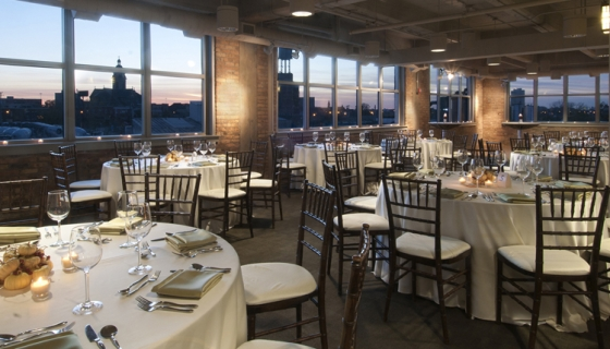 The Kendall College dining room set up for a luxurious wedding fit for foodies.