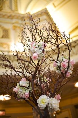 manzanita branch centerpiece pink roses green hydrangea white peonies hanging candles